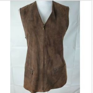 Liz Claiborne   Sz 4 Leather Vest Brown Zipper